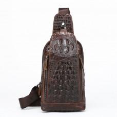 Men Vintage Men Genuine Leather Crocodile Travel Shoulder Cross Body Bags Messenger Pack Sling Pack Chest Bag