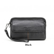 2265 CHEER SOUL genuine leather handy clutch bags for men wallet purse small phone pouch holder black and coffee