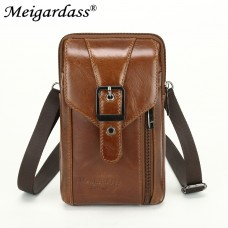 5004 Meigardass genuine leather small belt waist bags for men mobile phone wallet purse male coin father gifts