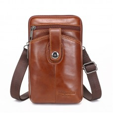 MEIGARDASS genuine leather small belt waist bags for men mini crossbody shoulder bag cowhide phone pouch holder