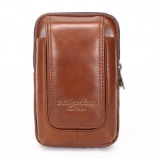 MEIGARDASS genuine leather small belt waist bags mobile phone holder pouch male phone case for men