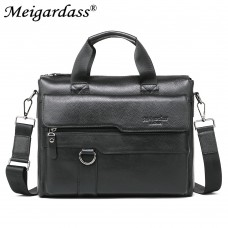 MEIGARDASS genuine leather briefcase for men handbags shoulder bags male cowhide laptop 8080