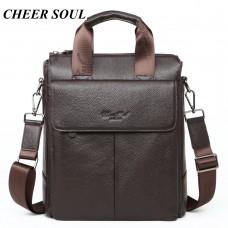 8236 cheer soul Fashion Simple Dot Famous Brand Business Men Briefcase Bag genuine Leather Laptop Bag Casual Man Bag Shoulder bags